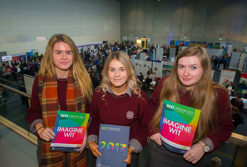 20/01/2017.  Waterford Institute of Technology (WIT) open day at WIT Arena. Pictured are Marie Keane, Hannah Gourlay and Katie Foran from St Declans Community College Kilmacthomas. Picture: Patrick Browne