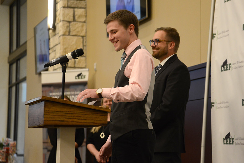 "Rouse High School senior Noah Davis, recognizing Jason Robb: ""Mr. Robb has positively impacted my life in more ways than I can count. My music education and performance ability have improved drastically since he first came to Rouse two years ago. But more than that, Mr. Robb has taught me some of the most important lessons I will ever learn in life. He has taught me to work hard, persevere, honor my commitments, pay attention to details, be aware of my surroundings and to constantly pursue excellence. My academic career and personal life would not have been the same without these lessons that I have learned from him. Mr. Robb loves his job, and that can be seen by anyone who walks in the door of our band hall. He is constantly teaching and instructing to improve the band as a whole and each individual within it. I have learned a lot from him in class, but I have learned even more from him during the conversations he will have with me and other students as we sit on couches in his office. To Mr. Robb, I would like to say thank you. Thank you for positively impacting my life and for bringing out the excellence within me and every person who has the privilege of being your student."""