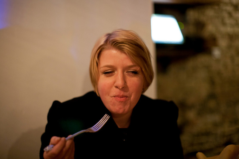 Kathryn Harris tastes some delicious food at Longman & Eagle in Chicago, Illinois on April 16, 2011. (Jay Grabiec)
