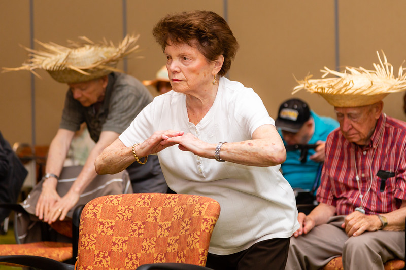 Miriam Schwarcz, 89, participates in a Zuma exercise class at Tradition of MorseLife in West Palm Beach on Wednesday, October 31, 2018. Schwarcz, a Holocaust survivor, has lived at Tradition for 11 months. [JOSEPH FORZANO/palmbeachpost.com]