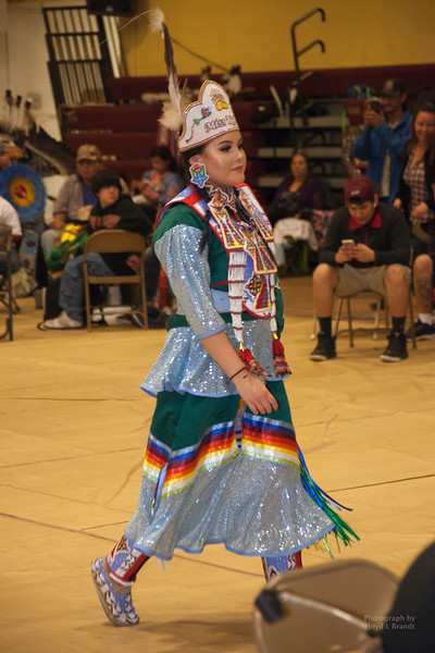 Havre Daily News/Floyd Brandt    Miss Kyi-yo Princes University of Montana Wozek Chandler, at the Sweetwater Pow wow Friday,  April 01, 2017 Havre, Montana