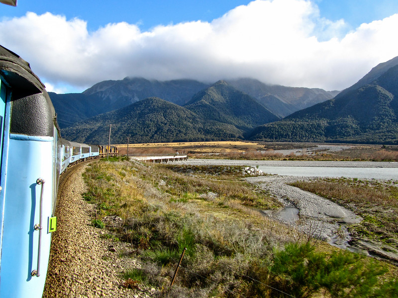 TranzAlpine train in New Zealand