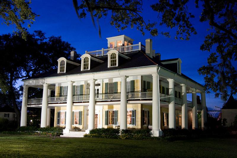 Houmas House Louisiana plantation house at twilight