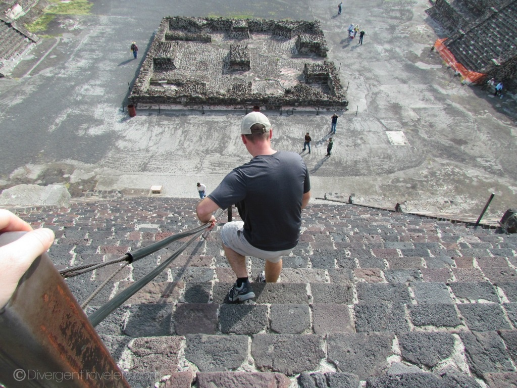climbing the Pyramid of the Moon at Teotihuacan