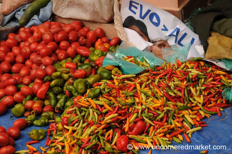 Peppers and Evo - Tarabuco, Bolivia