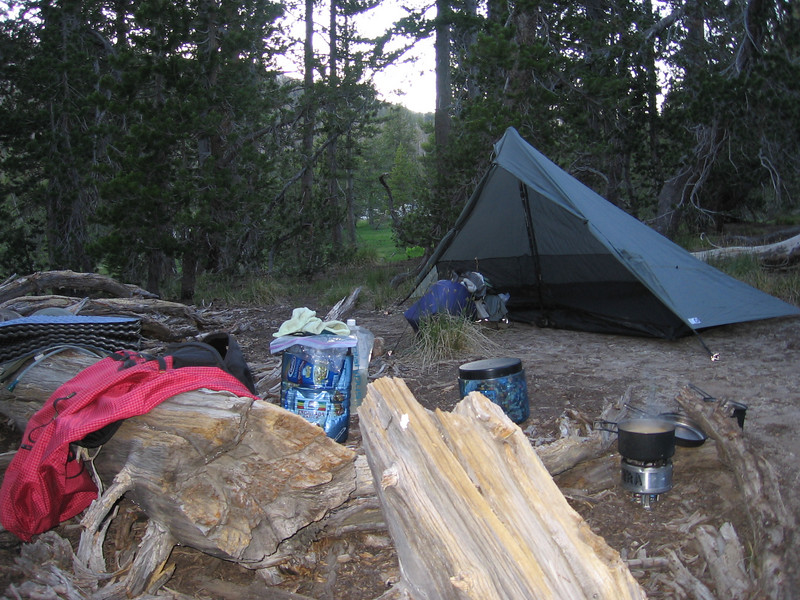 First night's camp along verge of Long Meadow just north of where the JMT turns away to the east. Two bearcans worth of food (22+ pounds!), as I was doing the trail nonstop and unresupplied. Stove is wood-burning Sierra Zip, titanium model, and tent is Six Moon Designs Lunar Solo E, which uses my hiking stick for its pole.