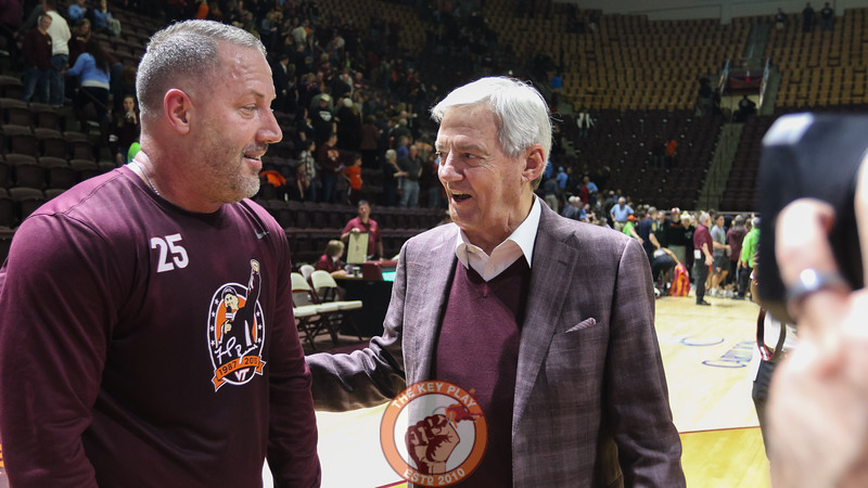 Buzz Williams and Frank Beamer share a few words after the game. (Mark Umansky/TheKeyPlay.com)