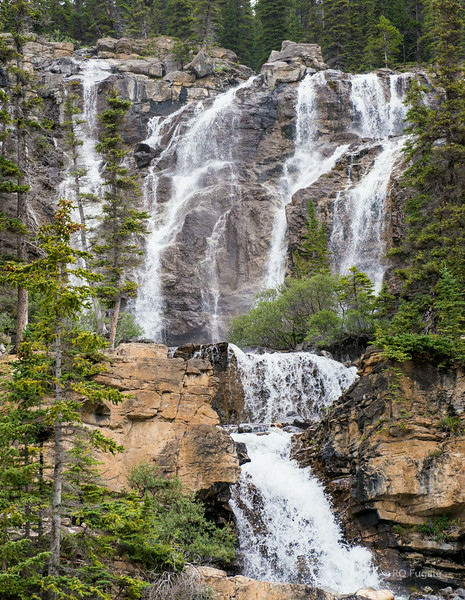 Unknown waterfall north of Columbia Icefield.