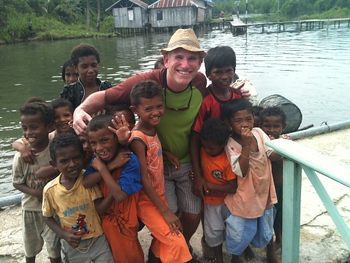 Scott and kids in Indonesia