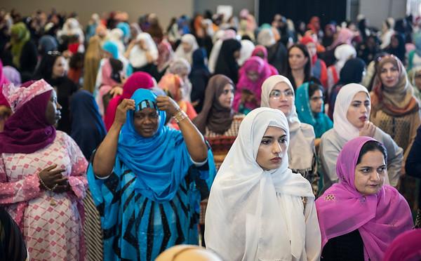 DAVID LIPNOWSKI / WINNIPEG FREE PRESS  Attendees prior to EID prayers at the RBC Convention Centre for the end of Ramadan Sunday June 25, 2017.