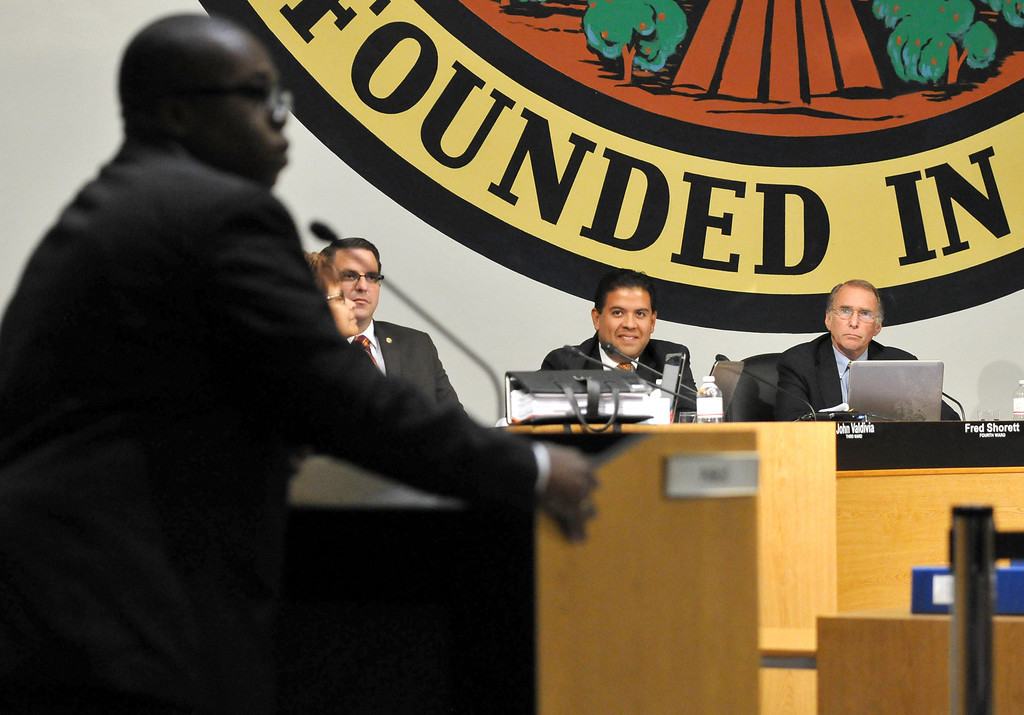. (John Valenzuela/ Staff Photographer) San Bernardino\'s 4th Ward  City Council candidate Anthony Jones speaks during public comment at Monday\'s San Bernardino City Council meeting at City Hall, Oct. 20, 2013.