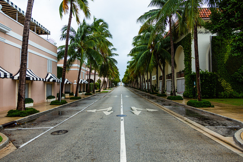 Worth Avenue in Palm Beach is deserted ahead of Hurricane Dorian side-swiping Florida's east coast on Labor Day, Monday, September 2, 2019. [JOSEPH FORZANO/palmbeachpost.com]