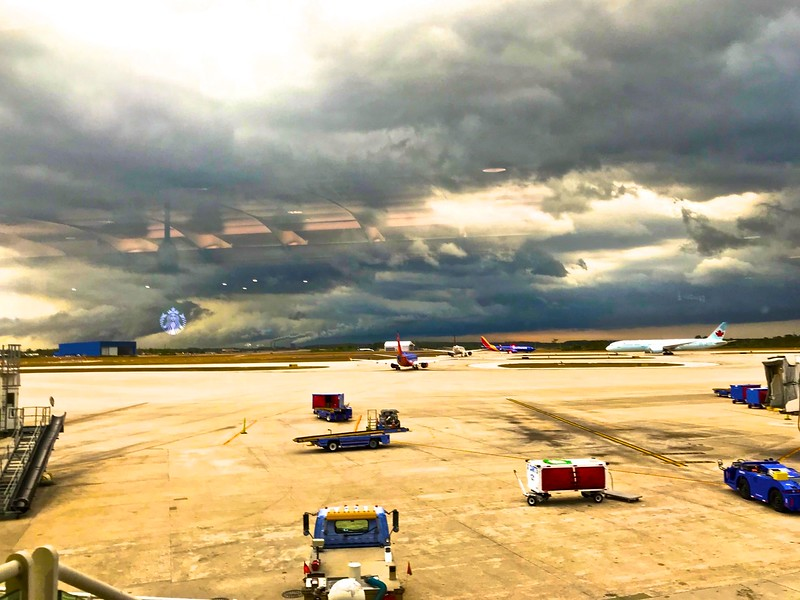 Storms delayed my flight from Orlando to Los Angeles.