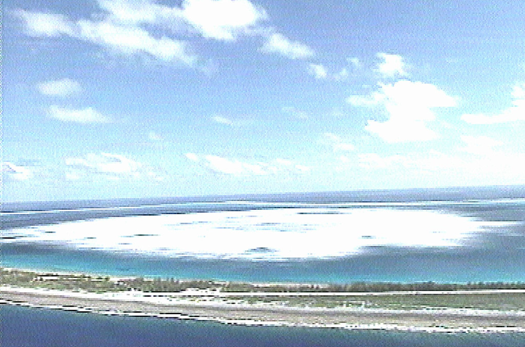 . The sea close to the shore of Fangataufa Atoll, about 750 miles from the French Polynesian capital of Papeete, in the South Pacific turns white following the detonation of an underground French nuclear test in this image taken from French Military footage, Sunday October 1, 1995. The test, the second detonated by France in a month, measured more than five times stronger than the 20 kiloton earlier test, carried out on Sept. 5 on the neighboring Atoll of Mururoa. (AP Photo/TV)