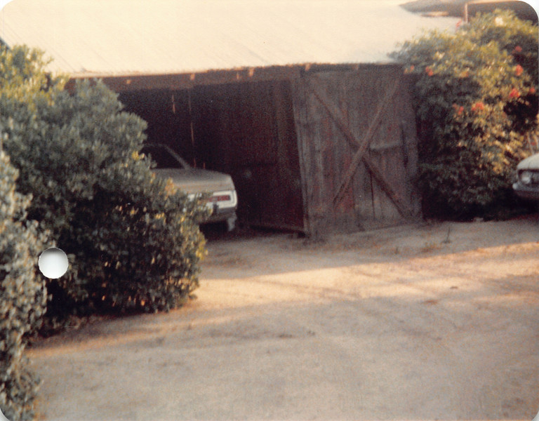 Old barn/garage, 1982. Left side was garage, right side was storage for farm oil products