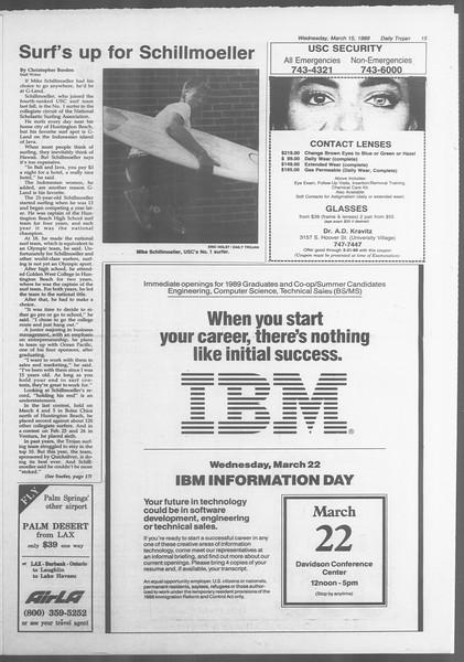 Daily Trojan, Vol. 108, No. 42, March 15, 1989
