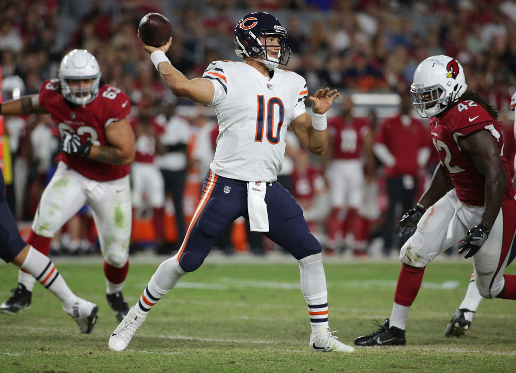 . Chicago Bears quarterback Mitchell Trubisky (10) throws against the Arizona Cardinals during the second half of a preseason NFL football game, Saturday, Aug. 19, 2017, in Glendale, Ariz. (AP Photo/Ralph Freso)