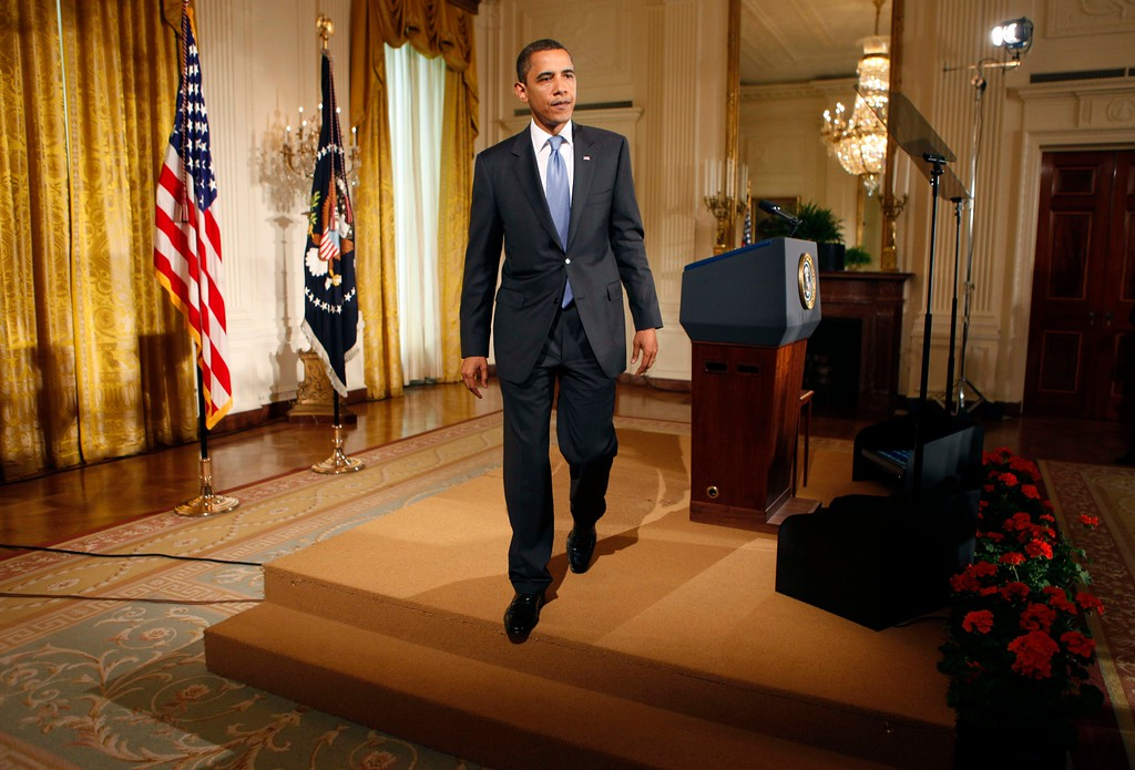 . President Barack Obama walks away from the podium after delivering remarks highlighting innovative non profits programs, Tuesday, June 30, 2009, in the East Room of the White House in Washington. (AP Photo/Pablo Martinez Monsivais)