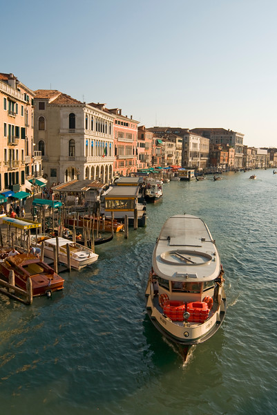 Grand Canal with Vaporetto Waterbus, Venice, Italy