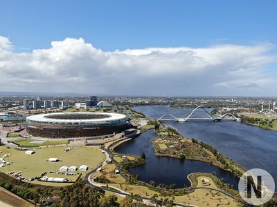 Optus Stadium with freeway foreground