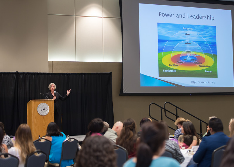 Keynote speaker Dr. Jane Mahoney addresses healthcare professionals and students during the 3rd annual Adele Bemis Leadership Lecture.