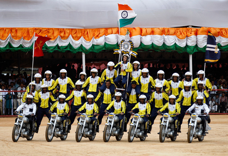 . A group of Indian army personnel perform on motorcycles during a function to mark India\'s Independence Day in Bangalore, India, Thursday, Aug. 15, 2013. (AP Photo/Aijaz Rahi)