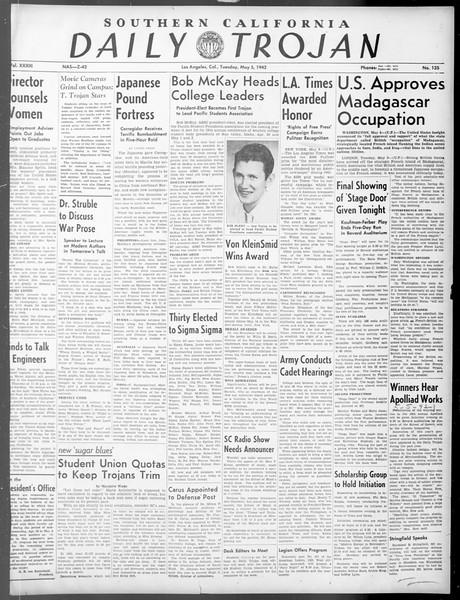 Daily Trojan, Vol. 33, No. 135, May 04, 1942