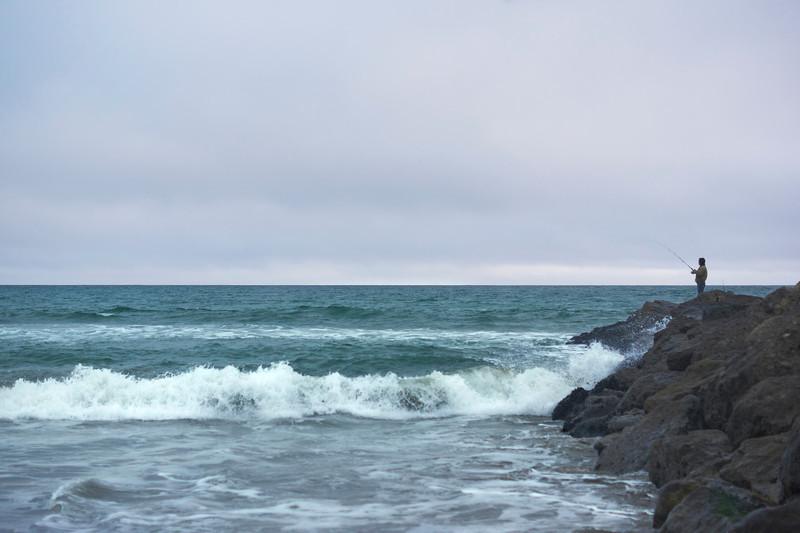 Lone Fisherman.  Ventura Beach