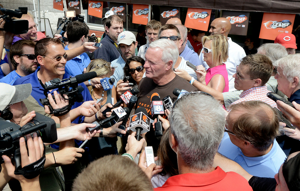 . Duncan Scott/DScott@News-Herald.com Browns owner Jimmy Haslam fields questions from the media as the Cleveland Browns opened training camp on July 26 with their first practice at their headquarters in Berea.