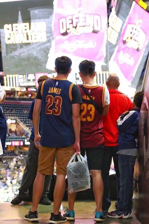 . Tim Phillis - The News-Herald Fans get ready for Game 4 of the NBA Finals at The Q.