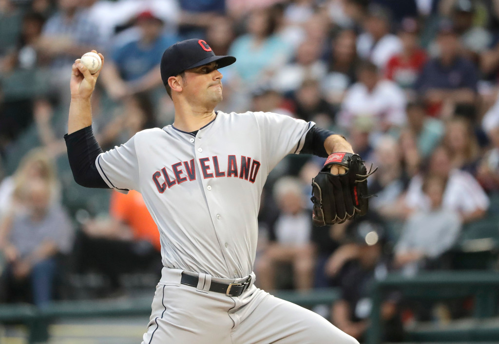 . Cleveland Indians starting pitcher Adam Plutko delivers during the first inning of the team\'s baseball game against the Chicago White Sox on Tuesday, June 12, 2018, in Chicago. (AP Photo/Charles Rex Arbogast)