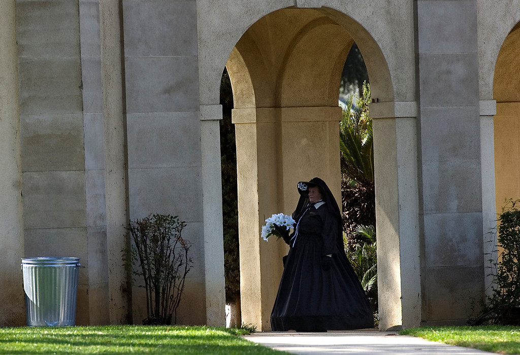 . Jane DeBeaumont, of Victorville, portrays Mary Todd Lincoln as she waits for the program to begin during the 75th annual Lincoln Pilgrimage in Redlands, CA., Saturday, February 8, 2014. (Photo by Jennifer Cappuccio Maher/Inland Valley Daily Bulletin)