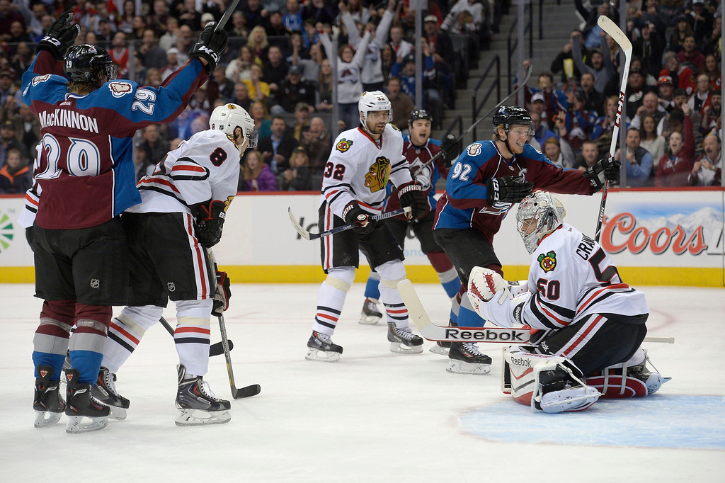 . Colorado Avalanche left wing Gabriel Landeskog (92) celebrates his goal during the first period on Chicago Blackhawks goalie Corey Crawford (50) November 19, 2013 at Pepsi Center. (Photo by John Leyba/The Denver Post)