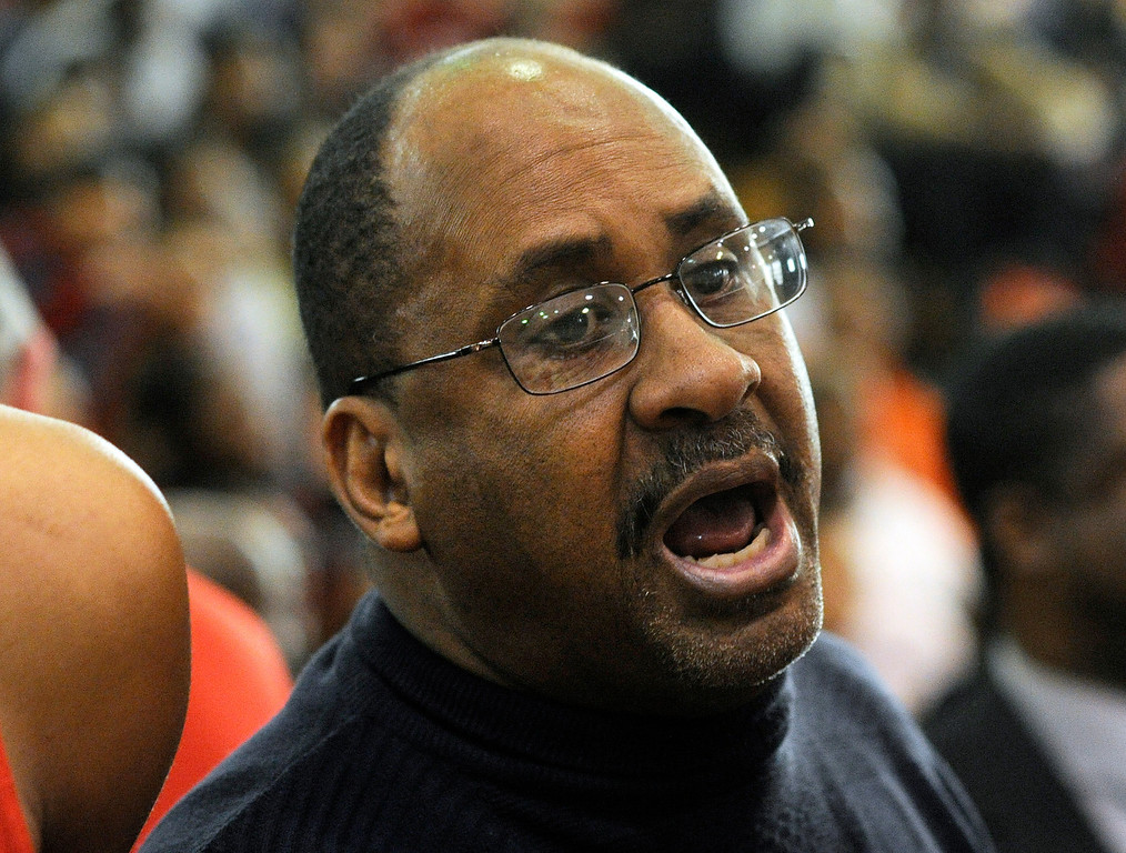 . DENVER, CO. - FEBRUARY 16: East coach Rudy Carey made a point during a time out in the second half. The Denver East High School boy\'s basketball team defeated George Washington 82-20 Saturday afternoon, February 16, 2013.  (Photo By Karl Gehring/The Denver Post)