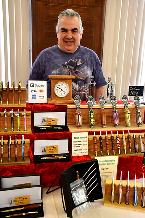 4/20/2019 Mike Orazzi | Staff Mark Norman with some of his woodcrafts for sale during the Mum Festival's 2nd Annual Spring Fling Craft Fair held at the Bristol Polish American Club in Bristol on Saturday.