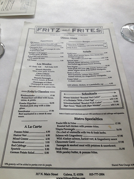 Fritz and Frites restaurant in Galena, IL.