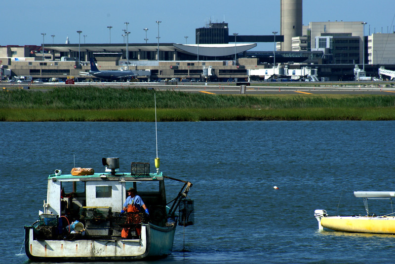 Fly Fisher: A fisherman by Logan Airport, checking out his gear.
