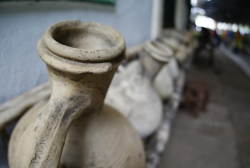 Wine Tour, Jerez de La Frontera, Spain.  Picture of pots without the Attache in the way.