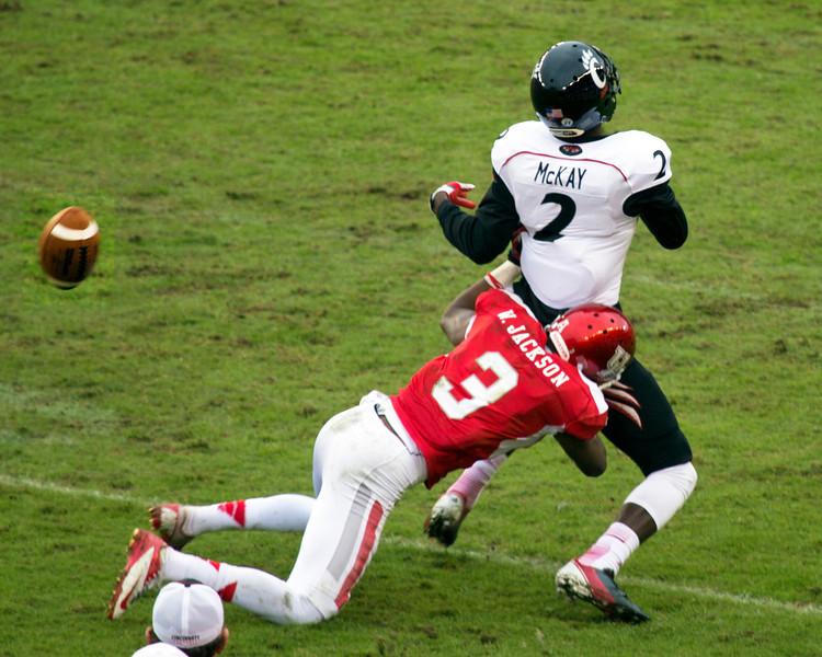 Jackson tackles McKay.