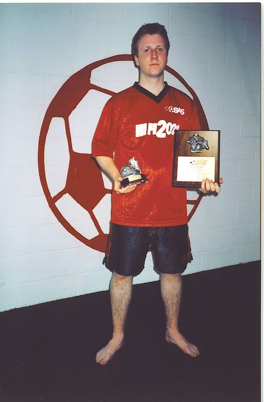 """THE RECORD BREAKER""... FALL INDOOR SCORING CHAMPION - Kenny Thomson (AC STRIKERS) - 36 goals"