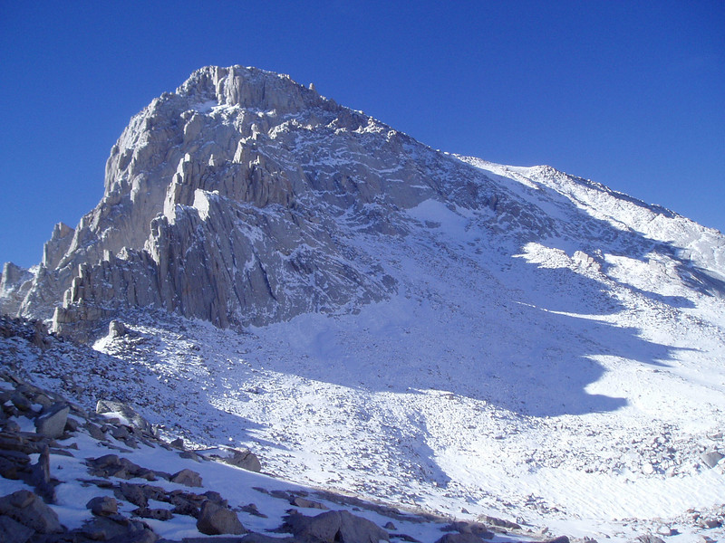 View on the Mt. Whitney's North Side from the back side of the Whitney/Russell pass.