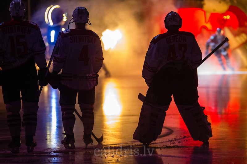 Players of the team Donbass Donetsk during opening ceremony of the KHL regular championship game between Dinamo Riga and Donbass Donetsk in Arena Riga