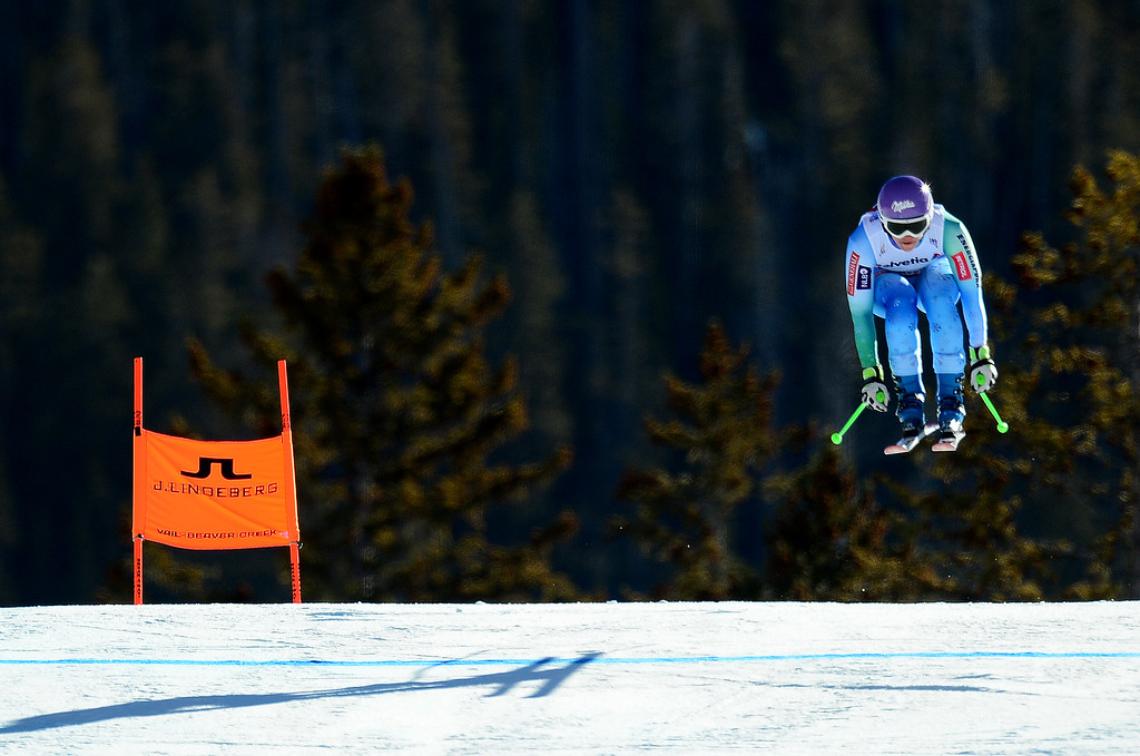 . Tina Maze, (SLO), flies over the Red Tail jump, the last jump, in the Women\'s downhill race in the FIS Alpine World Ski Championships in Beaver, CO. February 6, 2015. She won the race. (Photo By Helen H. Richardson/The Denver Post)