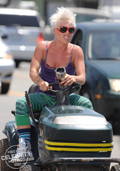 Pink Rides A Tractor Down Sunset Boulevard Filming 'So What'!