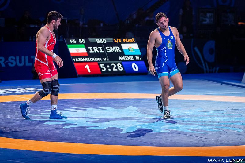 Semifinal: Hassan Aliazam Yazdanicharati (Iran) over Myles Nazem Amine (SAN MARINO)  •  TF 11-0 - 2019 World Championships