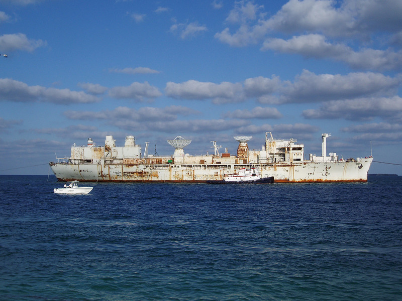 The USS Vandenberg being towed into the harbor for final preparations before its sinking on May 27, 2009 and becoming the largest artifical reef in the U.S.
