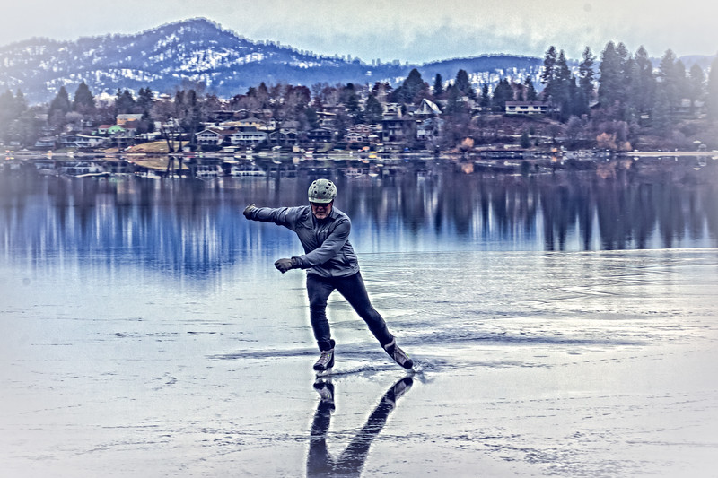 Ice Skating on Liberty Lake, Washington