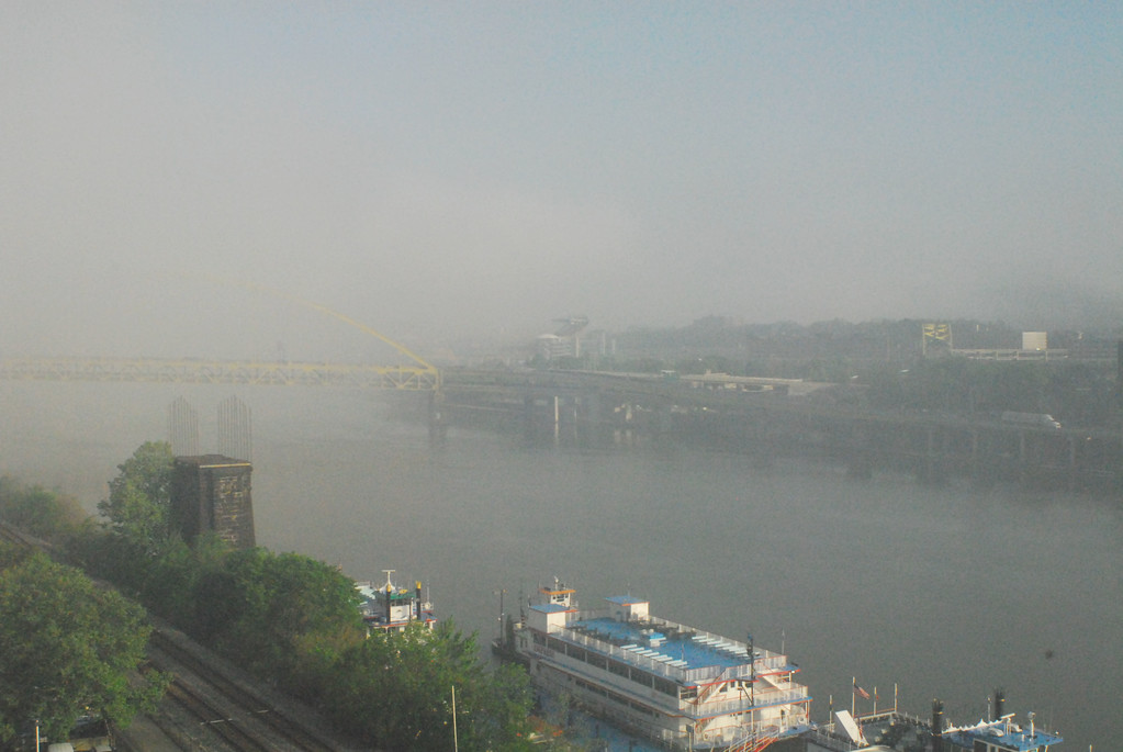 Monongahela River in morning fog, Pittsburgh, PA