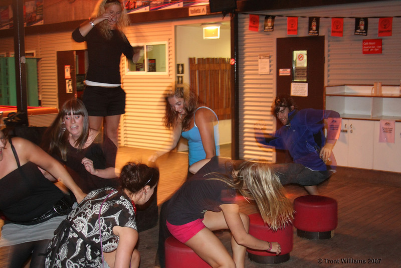 Andrew playing strip musical chairs on Magnetic Island. Photo by Trent Williams