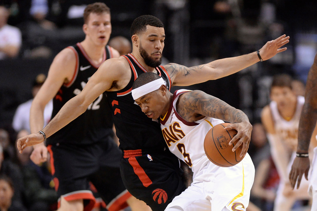 . Cleveland Cavaliers guard Isaiah Thomas (3) drives against Toronto Raptors guard Fred VanVleet (23) during the first half of an NBA basketball game Thursday, Jan. 11, 2018, in Toronto. (Frank Gunn/The Canadian Press via AP)